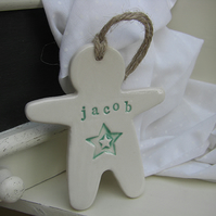 Personalised Man Shaped Ceramic Hanger with Star Decoration
