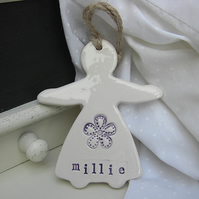 Personalised Lady Hanger with Flower Design