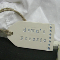 Personalised Spotty Design Ceramic Luggage Label Gift Tag