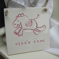 Personalised Pony Design Square Plaque