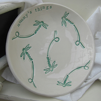 Personalised Dragonfly Design Ceramic Dish