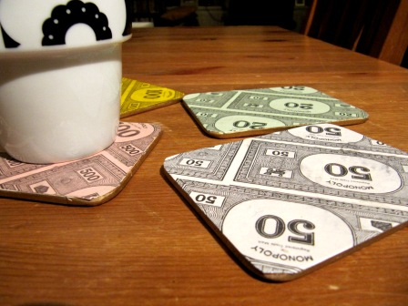 Handmade Recycled Monopoly Money Drink Coasters set of 4 custom made