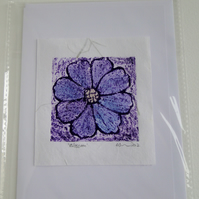 Blue Purple Blossom Flower Blank Greeting Card Collagraph Print with Watercolour