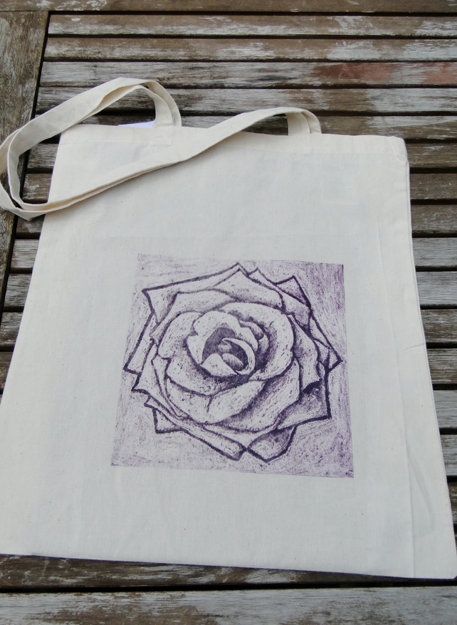 Purple Flower Collagraph Hand Printed Cream Tote Shopping Bag