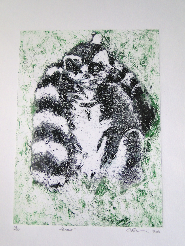 Ring Tailed Lemur Limited Edition Collagraph Print