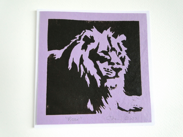 Lion Roar Lilac Blank Square Lino Printed Greeting Card