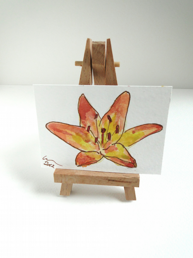 ACEO Orange Lily Original Watercolour & Ink Painting OOAK Flower