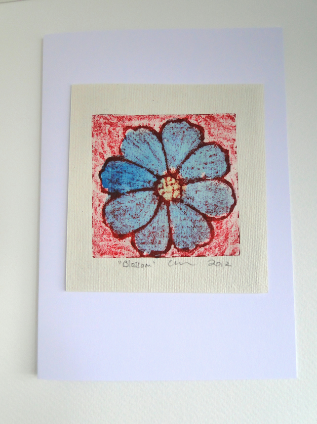 Red Blue Blossom Flower Blank Greeting Card Collagraph Print with Watercolour