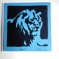 "Lion ""Roar"" Blank Square Lino Printed Greeting Card"