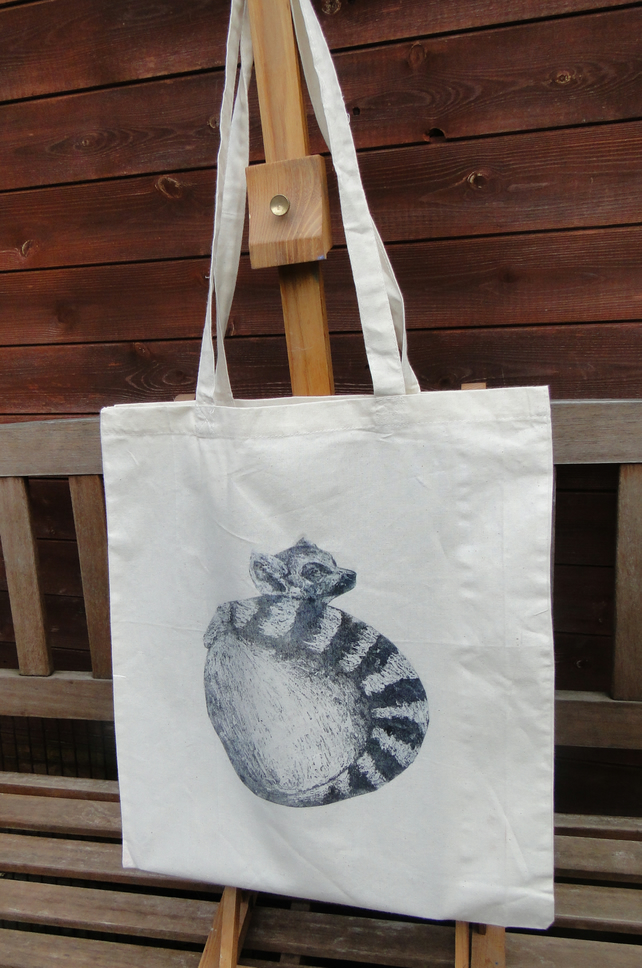 Tote Bag Ring Tailed Lemur Animal Collagraph Hand Printed Cream Shopping Bag