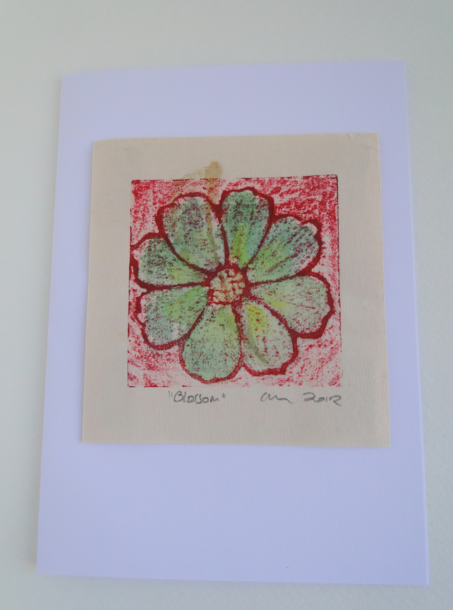 Red Green Blossom Flower Blank Greeting Card Collagraph Print with Watercolour