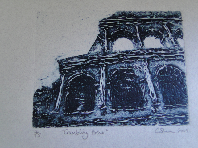 Crumbling Arena Limited Edition Collagraph Print of the Colloseum Rome