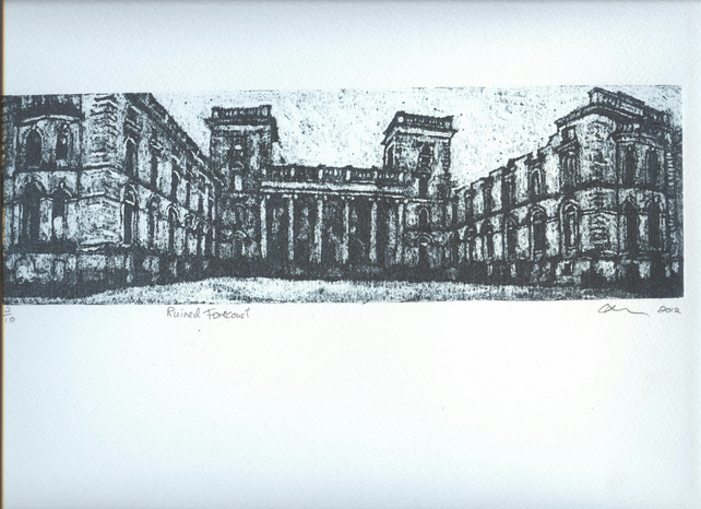 Ruined Forecourt Limited Edition Hand Pulled Collagraph Print Witley Court
