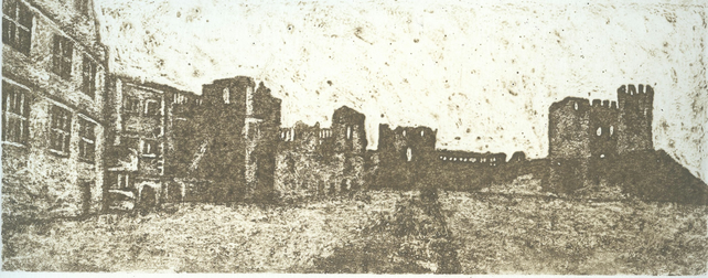 Castle Panorama Limited Edition Hand Pulled Collagraph Print Dudley Castle