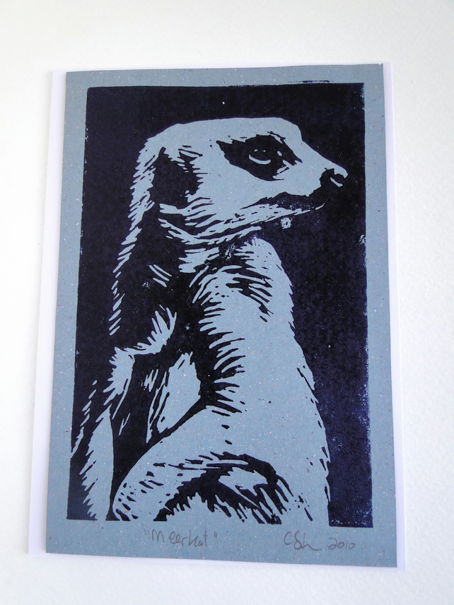 Meerkat Lino Print Blank Greeting Card Grey blue