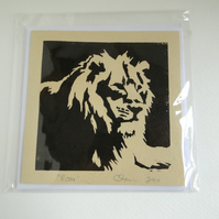 Lion Roar Cream Blank Square Lino Printed Greeting Card