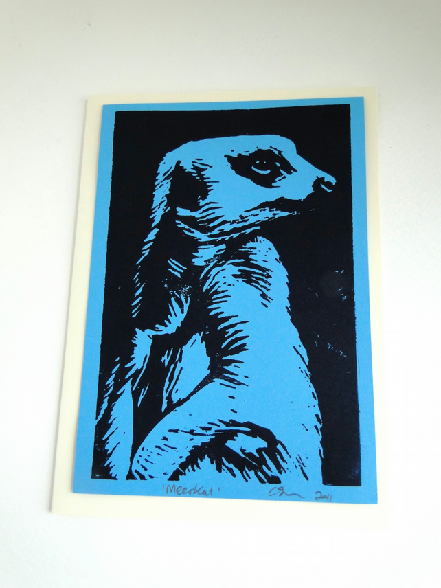 Meerkat Lino Print Blank Greeting Card Blue