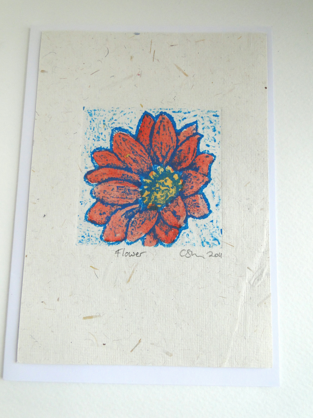 Orange Blue Flower Blank Greeting Card Collagraph Print with Watercolour