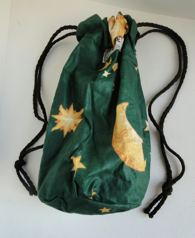 Sale Green Star Moon Sun Drawstring Bag Purse