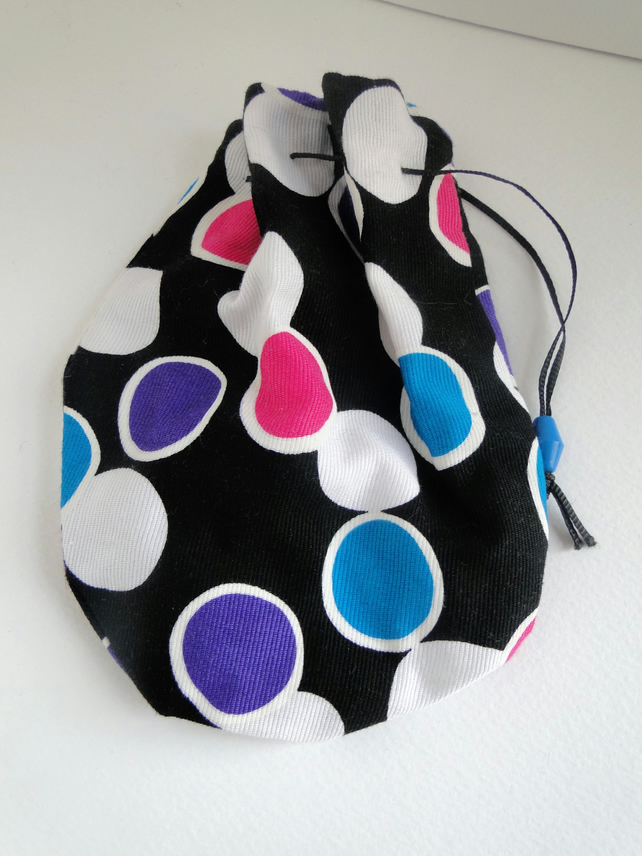 Sale Black Dotty Drawstring Bag Purse