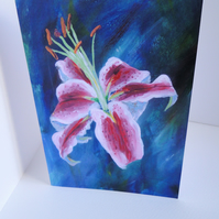 Lily 2 Flower Blank Greeting Card From my Original Acrylic Painting