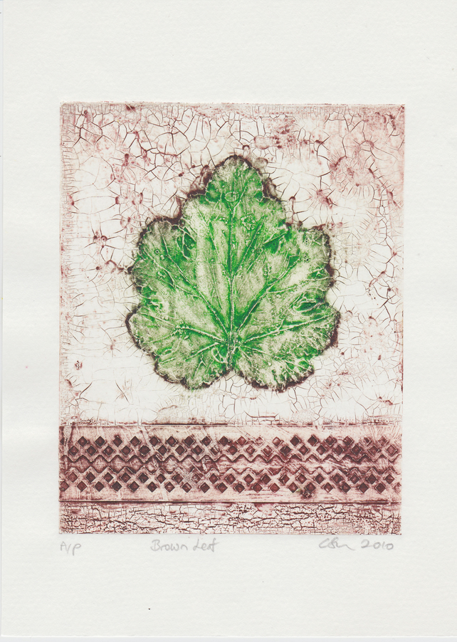 Brown Leaf One-Off Collagraph Print