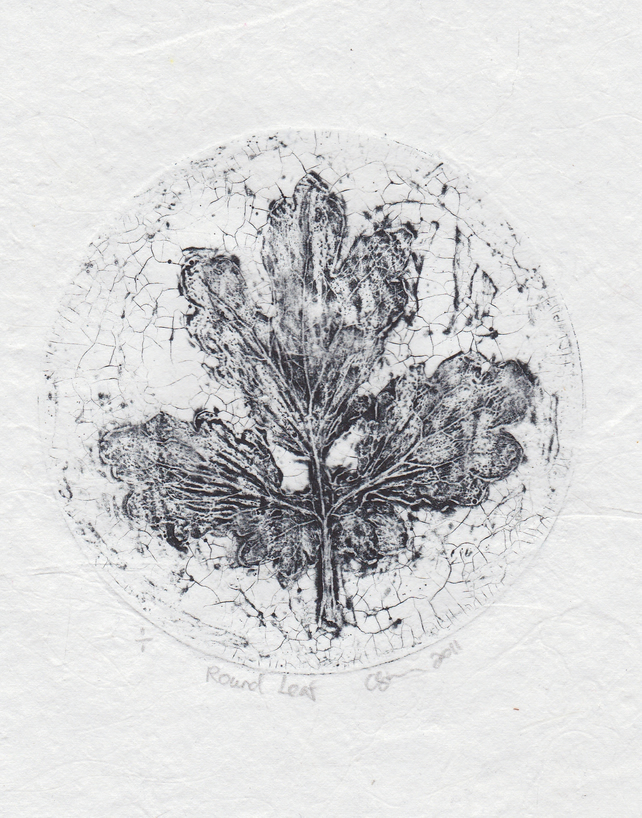 Round Leaf Black One-Off Collagraph Print