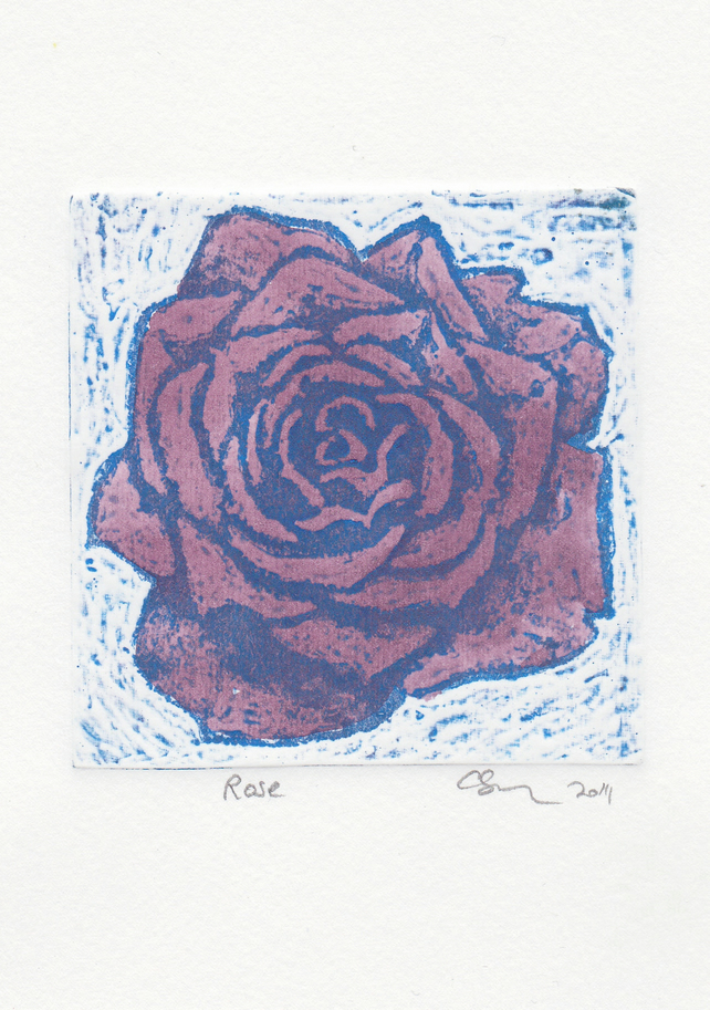 Purple Rose One-Off Collagraph Print