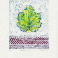 Crackle Leaf One-Off Collagraph Print