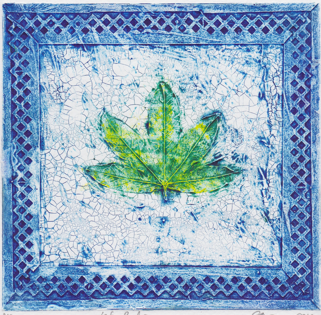 Leaf Border Blue One-Off Collagraph Print