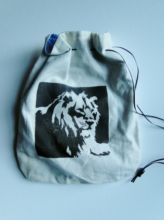 Sale Hand Printed Lion Cream Drawstring Bag Purse