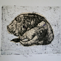 Sleepy Lion One-Off Hand Pulled Collagraph Print with Chine Colle