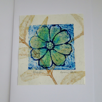 Blue Green Blossom Flower Blank Greeting Card Collagraph Print with Watercolour