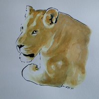 Lioness Original Watercolour & Ink Painting OOAK