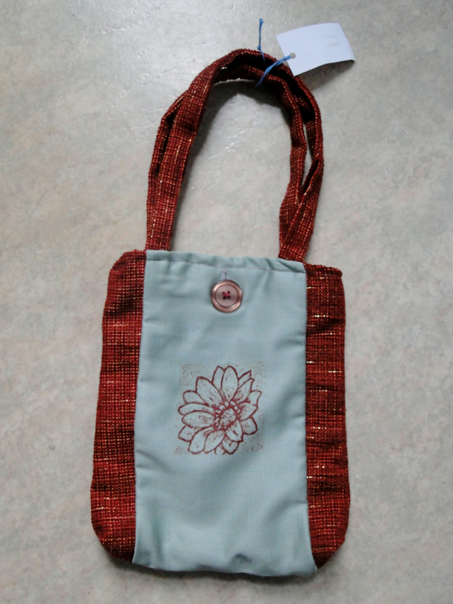 Red Flower Collagraph Hand Printed Small Bag