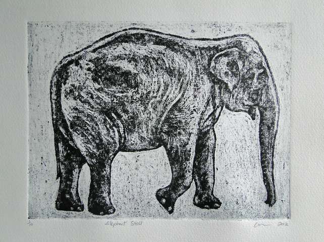 Elephant Stroll Limited Edition Collagraph Print