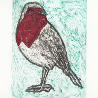 Robin One-Off Hand Pulled Collagraph Print with Red Chine Colle