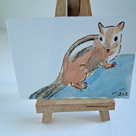 ACEO Chipmunk Original Watercolour & Ink Painting OOAK