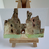 ACEO Dunstanburgh Castle Gateway Original Watercolour and Ink Painting