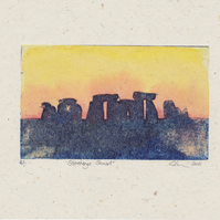 Stonehenge Sunset One-Off Collagraph Print  With Watercolour Art