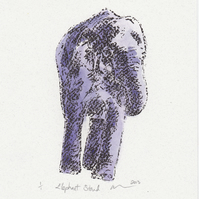 Elephant Stand One-Off Gocco Print  With Watercolour Art