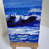 ACEO Art Card Wave 3 Original Acrylic Painting