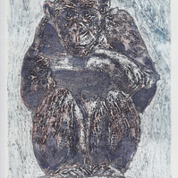 Thinker One Off Original Collagraph Print Art Chimp