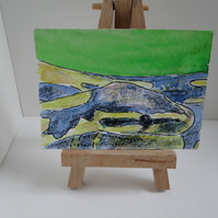 ACEO Art Snake Original Watercolour and Ink Painting