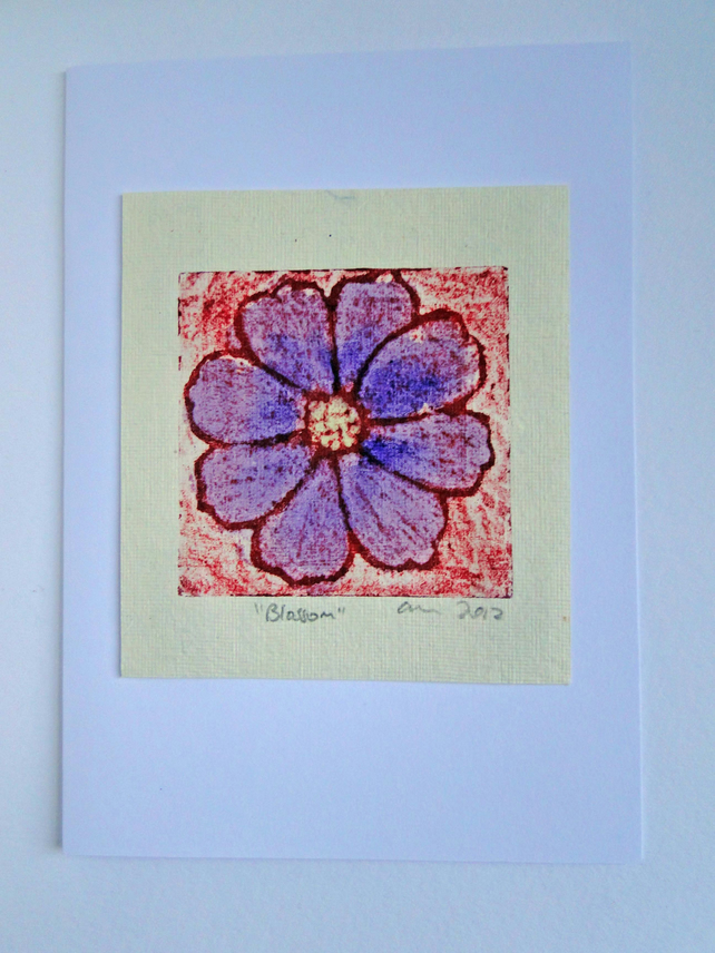 Purple Red Blossom Flower Blank Greeting Card Collagraph Print with Watercolour