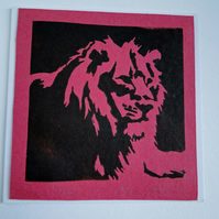 Lion Roar Red Blank Square Lino Printed Greeting Card