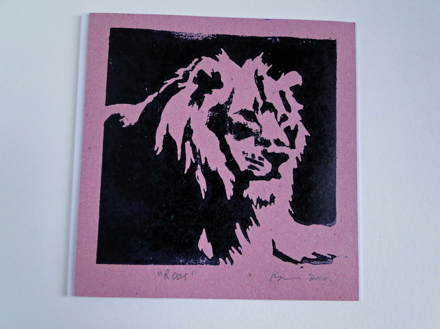 Lion Roar Pink Blank Square Lino Printed Greeting Card