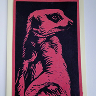Meerkat Lino Print Blank Greeting Card Red