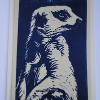 Meerkat Lino Print Blank Greeting Card Cream