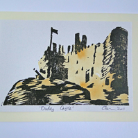 Dudley Castle Lino Print Blank Greeting Card with Watercolour